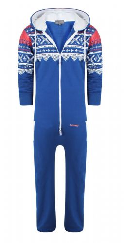 Men's Unisex Aztec Royal Brushed Fleece Zip Up Playsuit Jumpsuit All In One Hooded Onesie